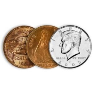 TWO COPPER ONE SILVER -.50 US, .01 ENGLISH & 20 CENTAVO