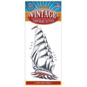 1920 SAILOR SHIP VINTAGE TEMPORARY TATTOO